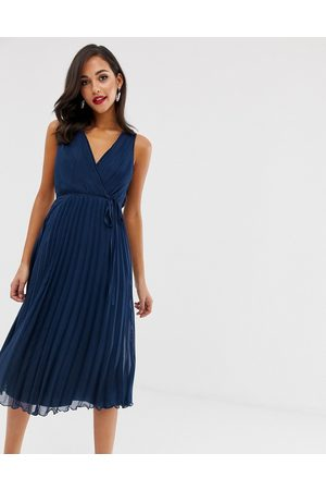 ASOS Wrap bodice midi dress with tie waist and pleat skirt