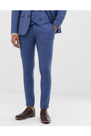ASOS Wedding super skinny suit trouser in micro texture in mid blue