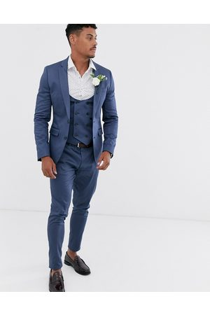 ASOS Wedding super skinny suit jacket in stretch cotton in indigo blue