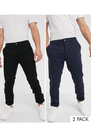 ASOS 2 pack skinny chinos in black & navy save