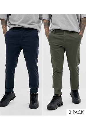 ASOS 2 pack skinny chinos in khaki & navy save
