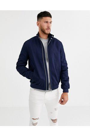 ASOS Harrington jacket with funnel neck in navy