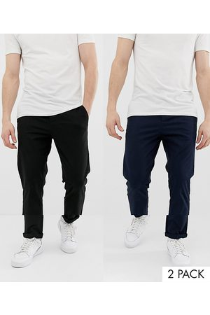 ASOS 2 pack slim chinos in black & navy save