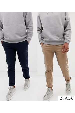 ASOS 2 pack slim chinos in navy & stone save