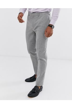 ASOS Wedding super skinny suit trousers in grey micro houndstooth