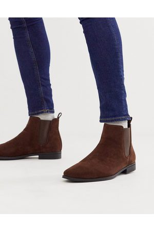 ASOS Chelsea boots in brown faux suede