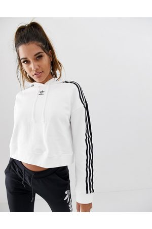 adidas Adicolor cropped hoodie in white