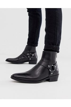 ASOS Cuban heel western chelsea boots in black leather with buckle detail