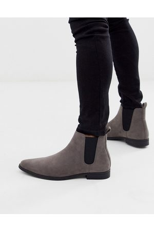 ASOS Chelsea boots in grey faux suede