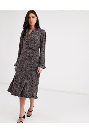 Y.A.S Ruffle detail long sleeve wrap dress