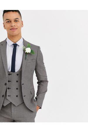 ASOS Wedding super skinny suit jacket in micro texture in tan