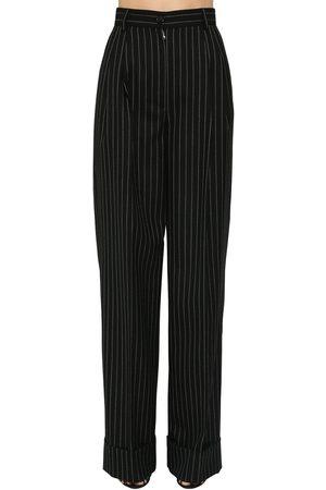 Dolce & Gabbana Pin Striped Wool Wide Leg Pants