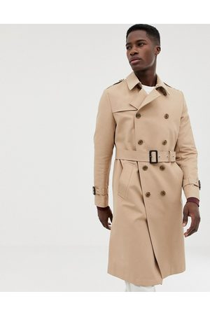 ASOS Shower resistant longline trench coat with belt in stone