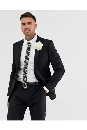 River Island Wedding skinny suit jacket in black
