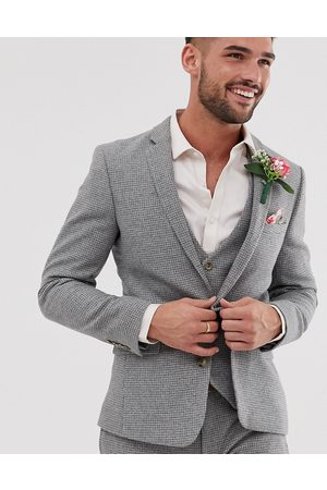 ASOS Wedding super skinny suit jacket in grey micro houndstooth