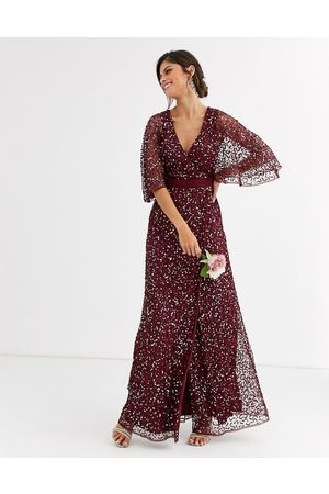 Maya Bridesmaid delicate sequin wrap maxi dress in wine