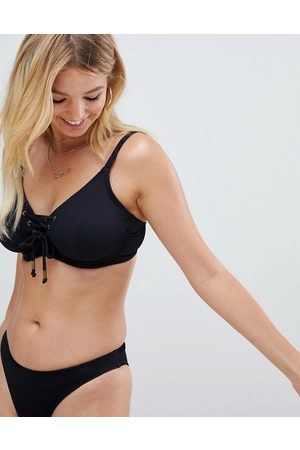 Pour Moi Fuller Bust Escape underwired lace up bikini top in black rib