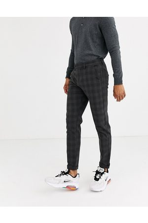Jack & Jones Intelligence smart check trousers in grey