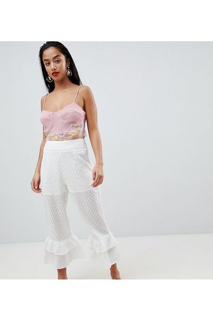 Lost Ink Broderie Trousers With Tiered Peplum Hem
