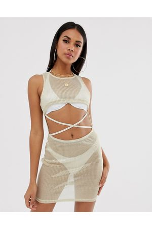 ASOS Knitted gold jersey mesh beach sundress with supercrop cutout & lattice waist