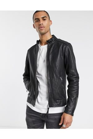 AllSaints Cora slim fit zip through leather jacket in black