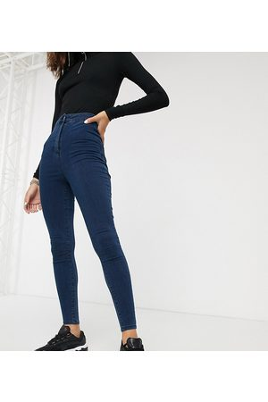 COLLUSION X002 super skinny high waist jean in dark wash blue