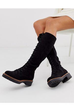 ASOS Courtney chunky lace up knee high boots