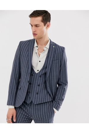 Twisted Tailor Super skinny suit jacket in blue pinstripe