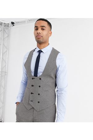 ASOS Tall wedding super skinny suit waistcoat in micro texture in tan