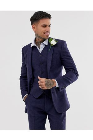 ASOS Wedding super skinny suit jacket in blue micro check