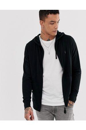 AllSaints Brace zip through hoodie with ramskull in black
