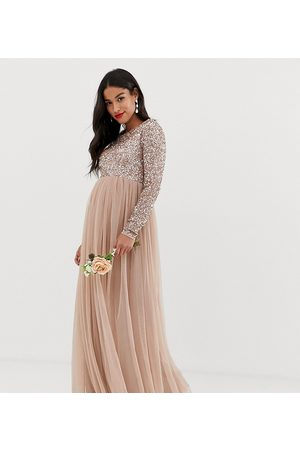 Maya Bridesmaid long sleeved maxi dress with delicate sequin and tulle skirt in taupe blush