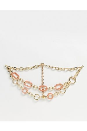 ASOS Link chain waist and hip belt in pink