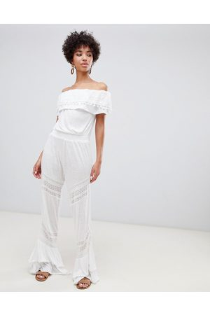 River Island Bardot beach jumpsuit with frill detail in white
