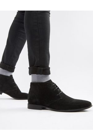 ASOS Chukka boots in black faux suede