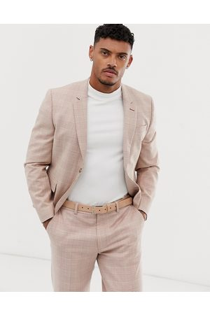 ASOS Skinny crop suit jacket in cream linen check