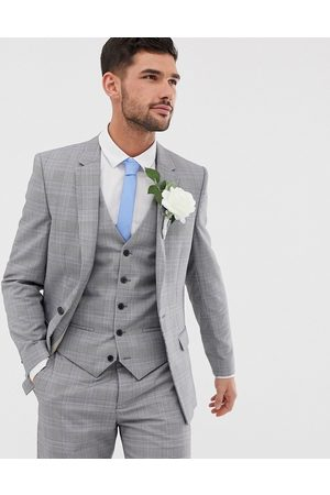 River Island Wedding slim suit jacket in grey check