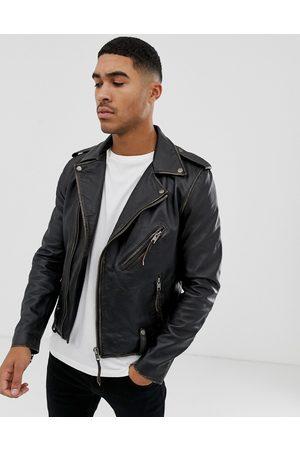 Bolongaro Biker leather jacket in antique finish