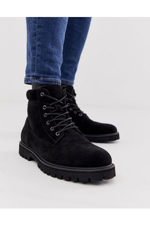 ASOS Lace up boot in black faux suede with padded cuff detail