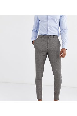 ASOS Tall wedding super skinny suit trousers in micro texture in tan