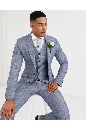 ASOS Wedding super skinny suit jacket in dark blue crosshatch