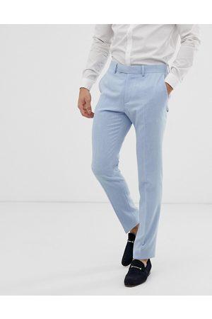 ASOS Wedding skinny suit trousers in blue cross hatch