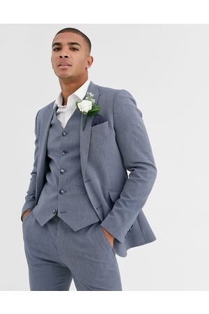 ASOS Wedding super skinny suit jacket in blue marl micro texture