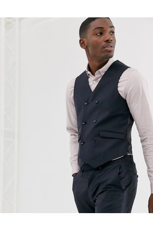 ASOS Wedding slim suit waistcoat in navy 100% wool