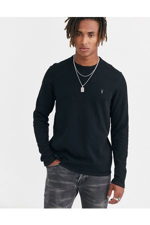 AllSaints Clash crew neck ramskull logo sweat in black