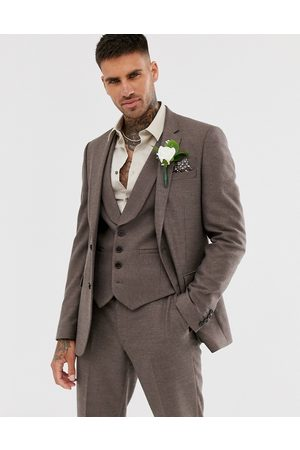 ASOS Wedding skinny suit jacket in soft brown twill