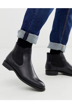 Selected Leather chelsea boots in black