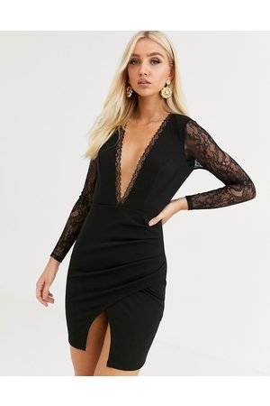 ASOS Long sleeve lace insert wrap mini dress