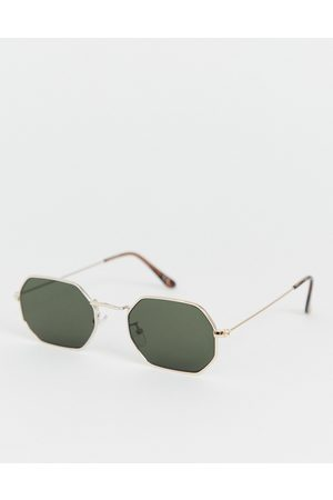 ASOS Metal angled sunglasses in gold with smoke lens