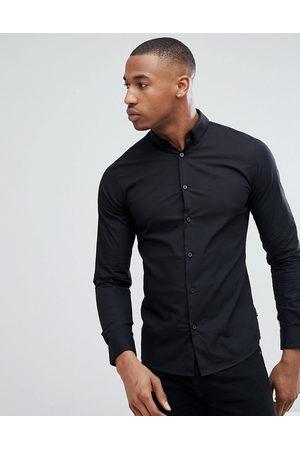 Only & Sons Slim fit stretch poplin shirt in black